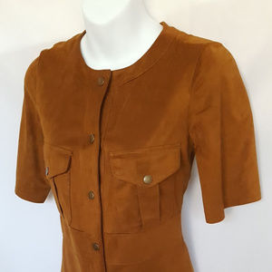 Zara Faux Brown Suede Tunic Top or Dress Size XS